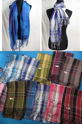 US SELLER-lot of 12 Mens unisex plaid checked pashmina scarves shawl wrap stole