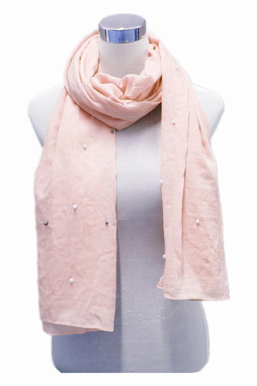 Damen  Schal Sommer Blogger Plaid Tuch Dünn mit Kleine Perlen Kugel Rosa 7512