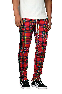 KDNK Men's Stripe Plaid Track Pants Joggers Kayden K [3124] (Plaid Pants Mens)