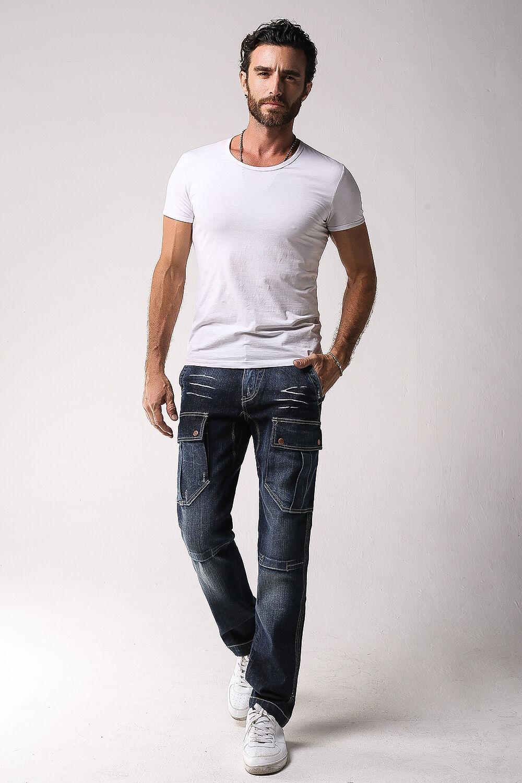 68834f0c ... FOX JEANS Men's Monroe Regular Fit Straight Blue Denim Mens Cargo Jeans  SIZE 40 фото ...