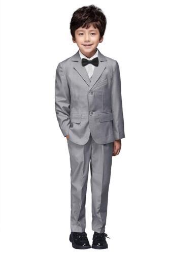 Yuanlu Boys Colorful Formal Suits 5 Piece Slim Fit Dresswear Suit Set (Gray, 14)
