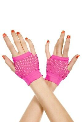 Hot Pink Gloves (Music Legs Finger-Less Thick Diamond Net Gloves 478 Black, Hot)