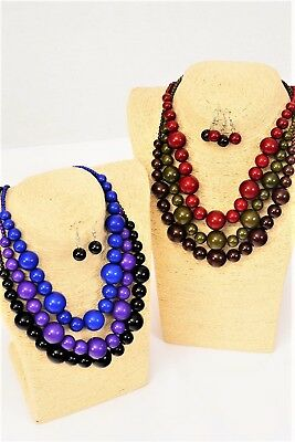 LOT OF 6 BEADED NECKLACE EARRING SETS COSTUME JEWELRY ROUND PURPLE BLACK BLUE - Bead Sets