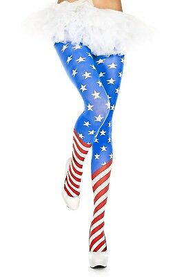Blue White Stars Red diagonal Stripes Tights US American Flag Wonder Woman Comic](Red Striped Tights)