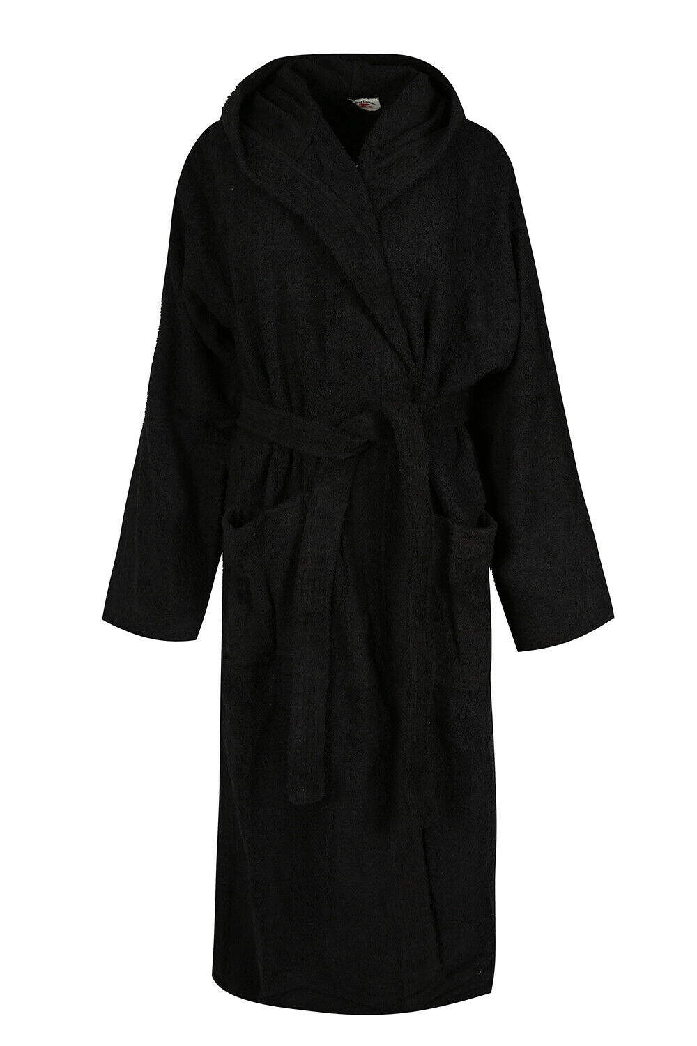 Hooded Terry Bath Robe Black Women 100% Cotton Toweling Dres