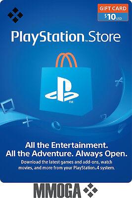 $10 USD PlayStation Network Store Card - PSN 10 US Dollar Prepaid Code - USA