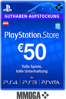 PSN Network Card 50€ EUR 50 Euro Playstation Prepaid Code PS3/4 Österreich - AT