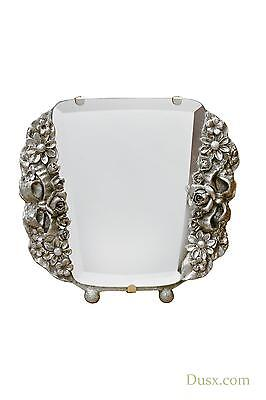 Barbola Floral Champagne Silver Gilt Leaf Table or Wall Mirror 17 x 15cm