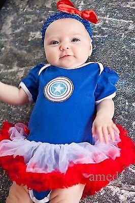 Halloween Xmas Baby Girl Captain America Romper Bodysuit Tutu Pettiskirt Costume (Toddler Girl Captain America Costume)