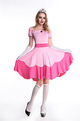 Women Super Mario Peach Toadstool Pink Princess Halloween Fancy Dress Costume - Peaches Costume