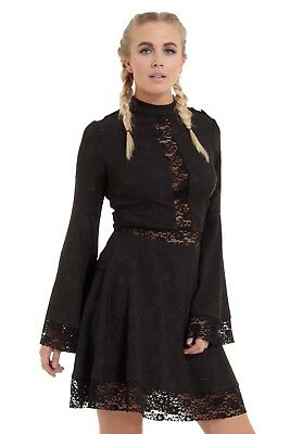 JAWBREAKER GOTHIC METAL WITCH FLORAL GOTH DARK BLACK LACE FLARE DRESS DRA8292 Clothing, Shoes & Accessories