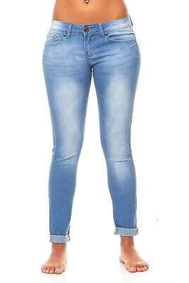 VIP Jeans for women Skinny Butt Lift Ankle Cuff and Sand-Blast stretch jeans