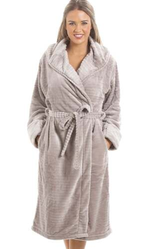 Camille Womens Ladies Nightwear Super Soft Fleece Grey Dressing Gown