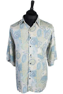 Vintage Hawaiian Print Retro Cotton Shirt Beach Hula Holiday Top Multi L SH2639