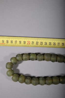 Art African Beads African Molten Glass of Ghana Green 85