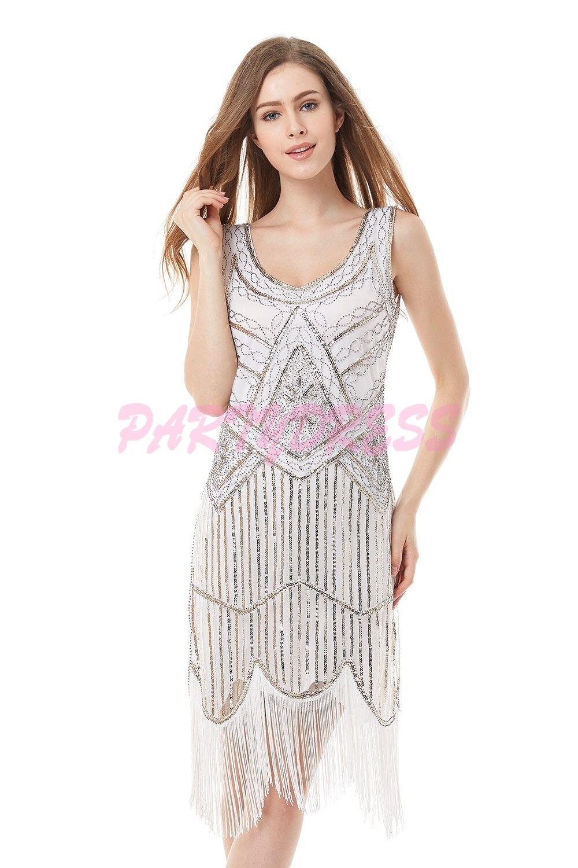 OP 122 Ladies Costume Fancy Dress 1920s White Flapper Gatsby 8,10,12,14,16,18