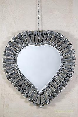 Fluted Heart Vintage Bronze Large Metal Overmantle Mirror W97 x H104cm