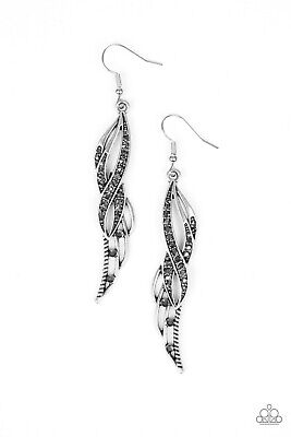Paparazzi Let Down Your Wings Silver EARRINGS New #1291