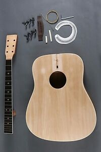 MAKE A GOOD PLAYING FULL SIZE 6 STRING D DREADNOUGHT ACOUSTIC GUITAR DIY KIT
