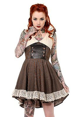 BANNED STRIPED VEGI LEATHER VINTAGE PIRAT GOTHIC DRESS GOTH ROCK STEAMPUNK LACE Clothing, Shoes & Accessories