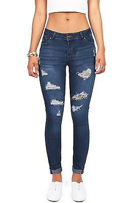 women s juniors distressed slim fit stretchy