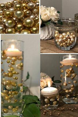 Ombre Floating Pearls Champagne Gold DIY floating pearl decor 60pc no hole
