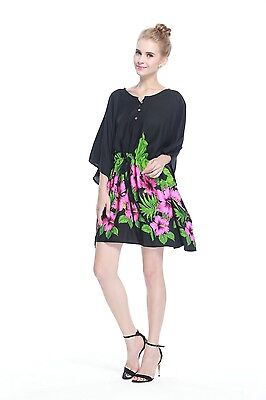Poncho Dress Top Luau Tropical Cruise Hawaiian Tie Beach Plus Size Black Pink BD