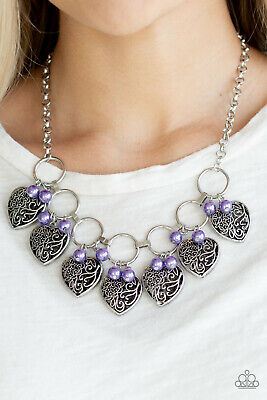 Paparazzi purple pearls vintage locket like heart frames necklace w/ earrings