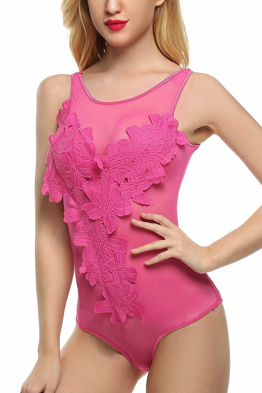 Sexy Lingerie Women Lace Floral One-Piece Mesh Babydoll Sleepwear Badysuit US Bodysuits
