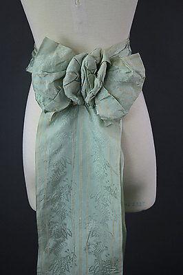 Antique Victorian ribbon sash bow Tassels vintage pastel aqua bridal sash belt