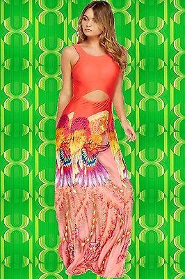 prit Boho Hippie Maxi Kleid Phoenix Cut Outs koralle bunt (Rosa Sprite)