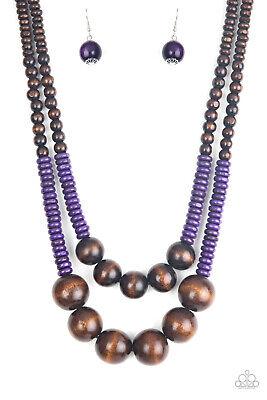 Paparazzi Necklace & Earrings Cancun Cast Away - Purple
