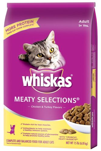 WHISKAS MEATY SELECTIONS Dry Food for Cats, Chicken  Turkey Flavor