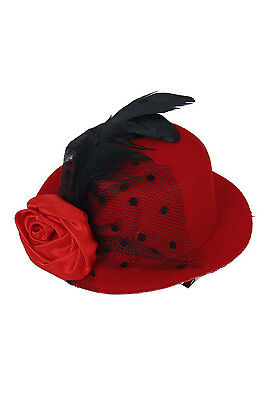 orated Net Yarn Feather Burlesque Mini Top Hat Red Punk  DT (Red Mini Top Hat)
