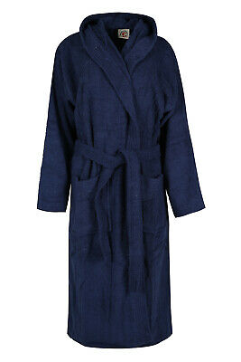 Blue Hooded Bathrobe Mens Luxury 100% Terry Cotton Towel Dressing Gown Bath - 100 Cotton Terry Cotton