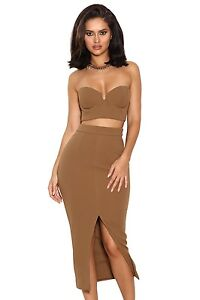Camel Crepe Bustier Two Piece