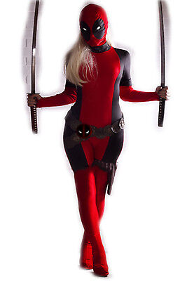 Deadpool Costume For Women ( Lady Women Deadpool Costume X-Man Zentail fullbody jumpsuit Superhero)