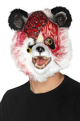 Horror Panda Zombie Maske - Halloween Fasching Kostüm - Gehirn Blut Zubehör NEU