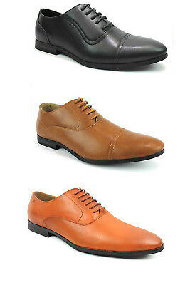 Men's Black Cognac Rust Dress Shoes Lace Up Oxfords Leather Lining Joey AZAR MAN