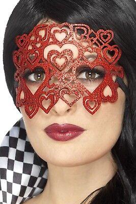 Damen Rote Glitter Herz Masquerade Mardi Gras Karneval Kostüm Augenmaske ()