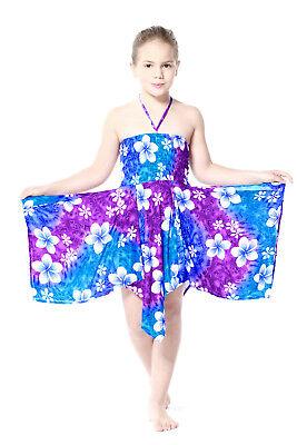Girl Luau Dress Gypsy Aloha Summer Beach Hawaiian Floral Pink Blue Cruise - Girl Pink Dress