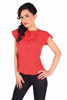 retro Rockabilly POLKA DOTS Schmetterlingsärmel Blusentop Bluse rot Rot Polka Dot Polyester