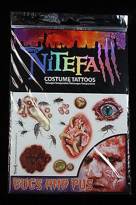 Realistic Gross-TEMPORARY FAKE TATTOOS SET-Horror Zombie Costume Makeup-BUGS PUS - Halloween Gross Makeup