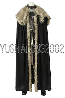 Game of Thrones Season 8 Jon Snow Cosplay Kostüm Costume Outfit Halloween (Jon Snow Kostüm)