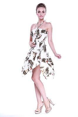 White Luau Dress (Tropical Hawaiian Luau Wedding Dress Cruise Pool Gypsy White Red Hibiscus)