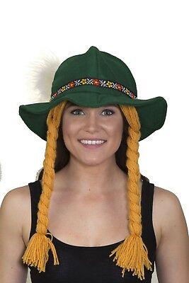 Oktoberfest Alpine Beer Garden Girl Hat Swiss Lederhosen Bavarian German Costume