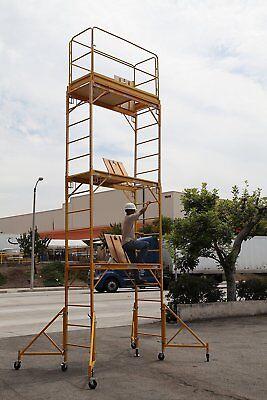 Scaffold Rolling Tower 17' High with Hatch Deck Guard Rail & U Lock CBM Scaffold