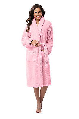 Women Robe -Bathrobe Coral Fleece Robe -  Thick -VERY SOFT -Long - USA Seller  (Orange Robe)
