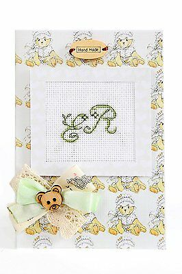 Birth Announcement Cross Stitch Card Kit By Luca-S Green Teddy Hand Made -