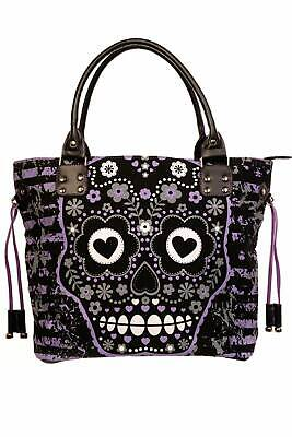 Purple Tattoo Candy Sugar Skull Floral Heart Striped Gothic Handbag Tote Bag